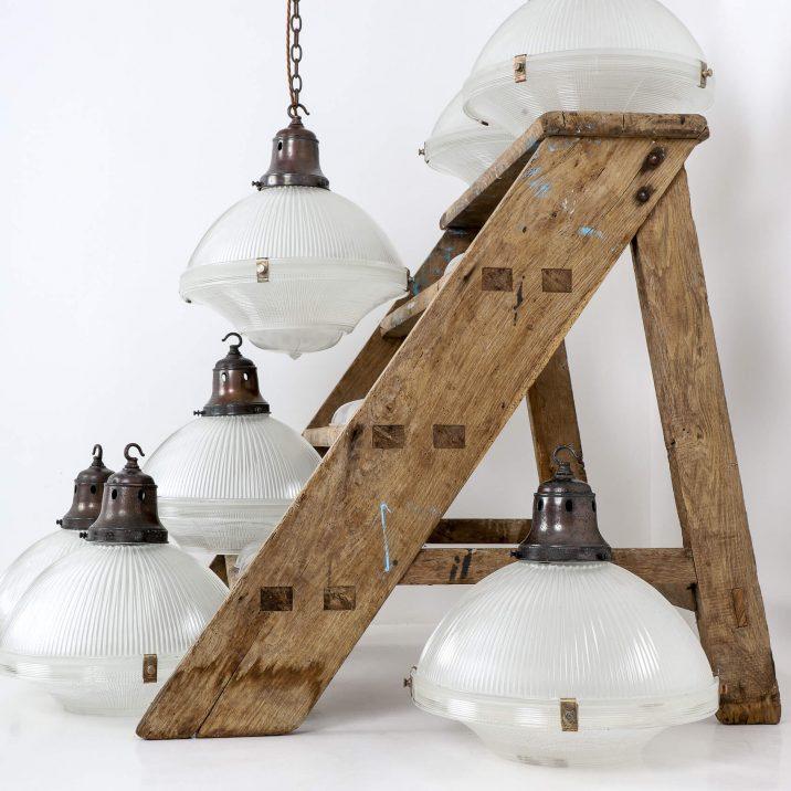white holophane pendant lights