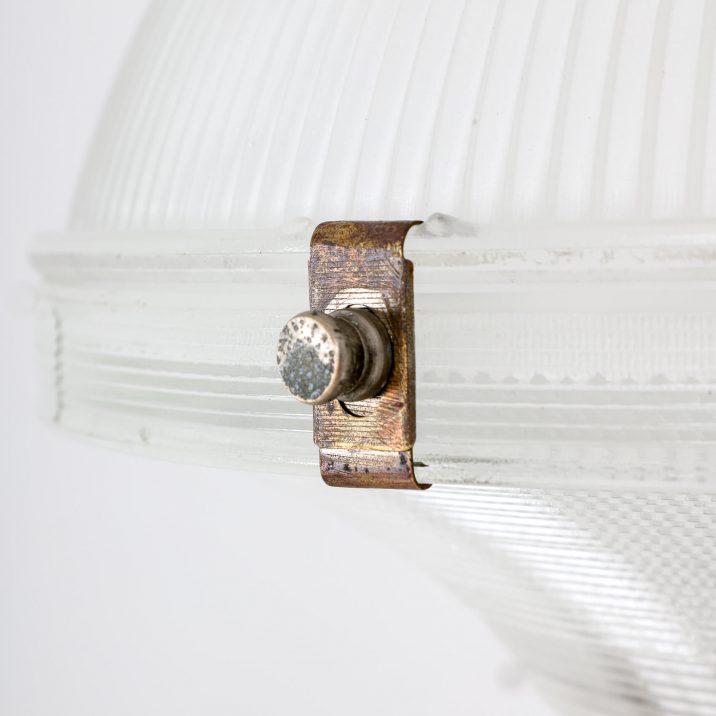 three part antique holophane pendant light
