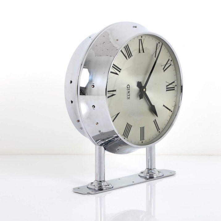 chrome station wall clock
