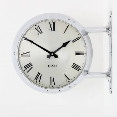 chrome double sided wall clock