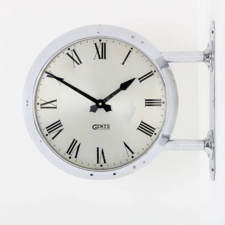 chrome double sided wall clock