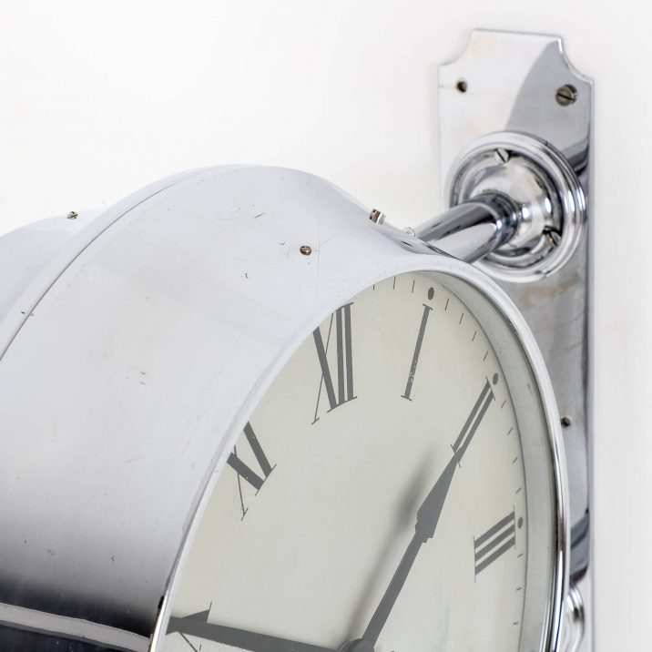 chrome doublesided gents station wall clock