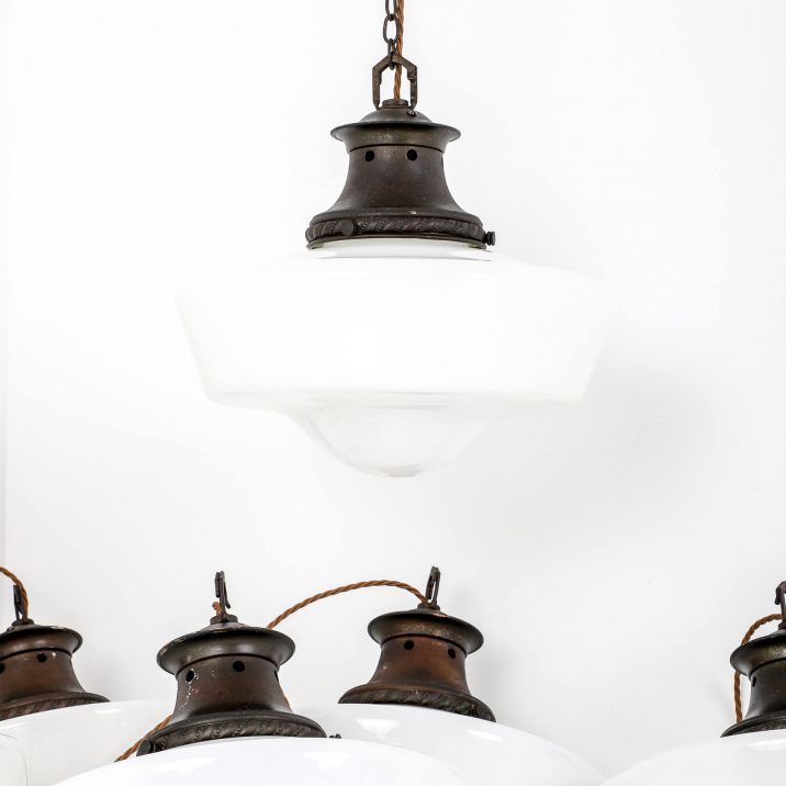 edwardian industrial opaline pendant lighting