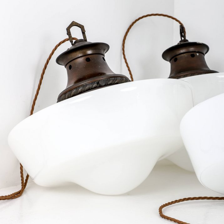 industrial opaline pendant light
