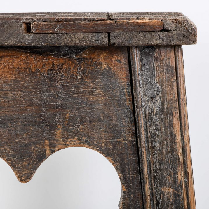 antique wooden gothic stool