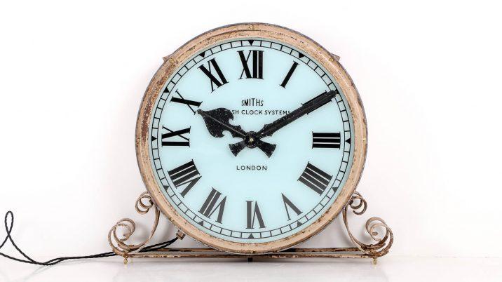 antique illuminated station clock