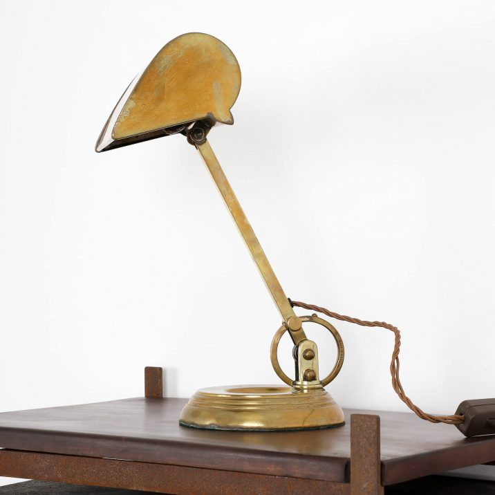 ANTIQUE BRASS BANKERS LAMP 1 Cooling & Cooling