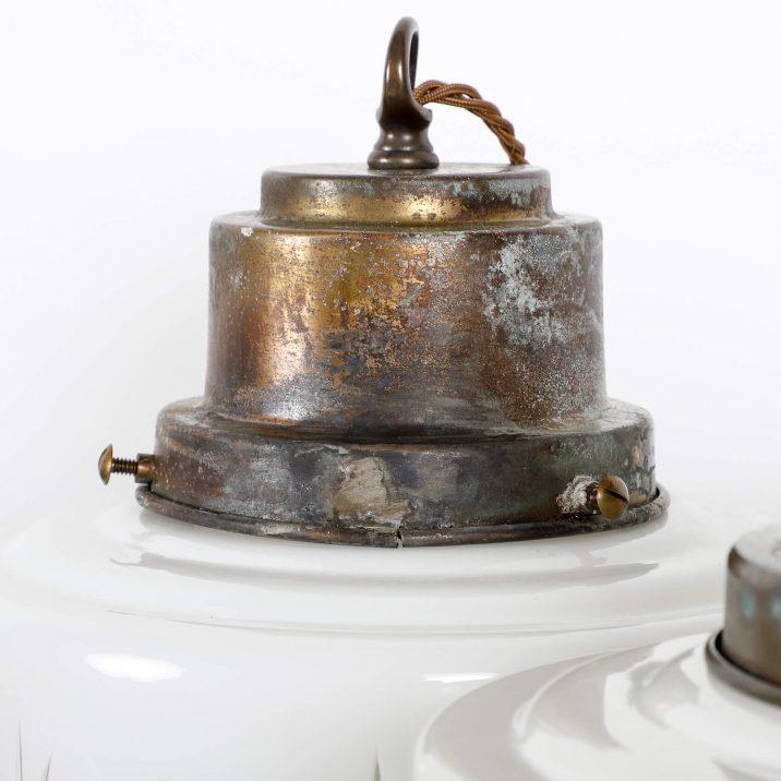 LARGE ANTIQUE CUT GLASS OPALINE PENDANT 4 Cooling & Cooling