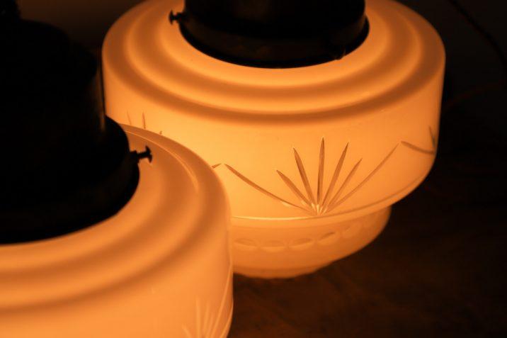 LARGE ANTIQUE CUT GLASS OPALINE PENDANT 8 Cooling & Cooling
